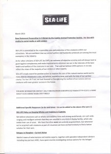 Internal statement from SEA LIFE ZAW15